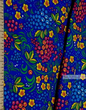 Folklore Fabric by the yard ''Currant On Blue''}