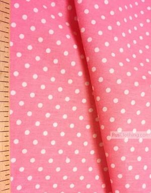 Tissu coton imprime au metre ''Small White Polka Dots On Coral''}