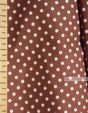 Tissu coton imprime au metre ''Small White Polka Dots On Chocolate''}