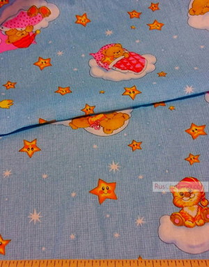 Tissu pour bébé au metre ''Baby Dreams, On Blue''}