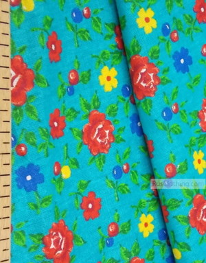 Floral cotton fabric by the yard ''Roses On A Turquoise Field''}