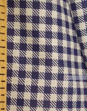 Tissu géométrique au metre ''Dark Blue Plaid On White''}
