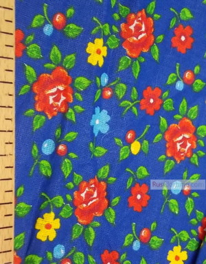 Tissu coton fleuri au metre ''Roses On Blue Field''}