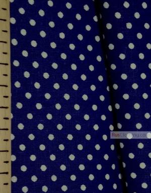 Tissu coton imprime au metre ''Small White Polka Dots On Blue''}