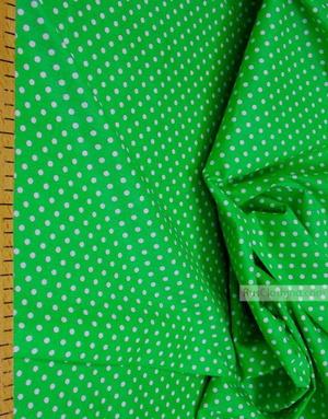 Tissu coton imprime au metre ''Little Peas, White On Green''}