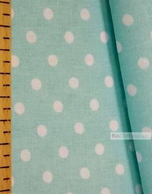 Tissu coton imprime au metre ''Small White Polka Dots On Pale Turquoise''}