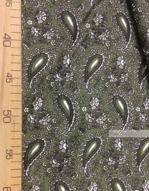 Tissu coton pasley au metre ''Black Turkish Cucumber, Dark Green''}