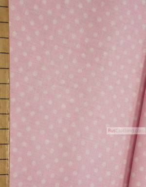 Tissu vintage au metre ''Small White Polka Dots On Pale Pink''}