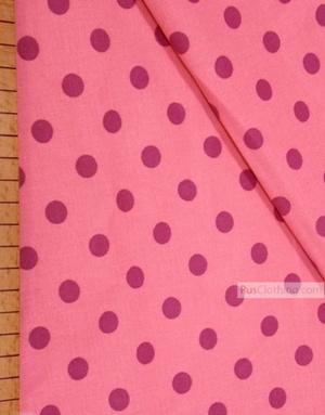 Tissu coton imprime au metre ''Purple Polka Dots On Pink''}