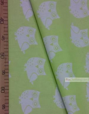 Tissu pour bébé au metre ''White Owls On The Salad''}