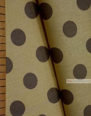 Tissu vintage au metre ''Large Polka Dots, Brown On Yellow''}