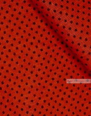Red cotton fabric by the yard ''Black Polka-Dot On Red''}