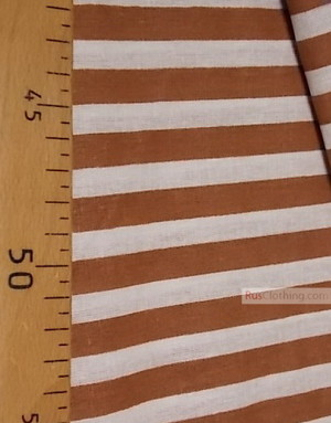 Tissu coton imprime au metre ''White-Brown Strip''}