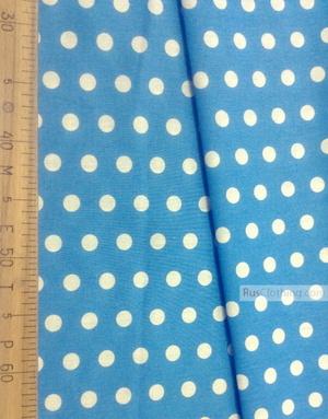Tissu coton imprime au metre ''Medium Peas, White On Blue''}