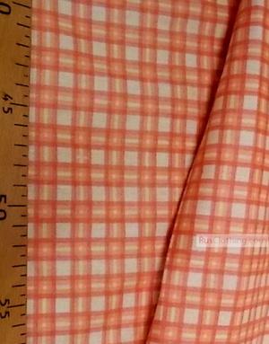 Tissu géométrique au metre ''Orange Plaid''}