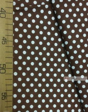 Tissu coton imprime au metre ''Small White Polka Dots On Brown''}