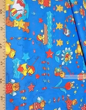 Kids Fabric by the Yard ''Bears On A Blue Carpet''}