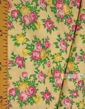 Floral cotton fabric by the yard ''Pink, Yellow Roses On Light Yellow''}