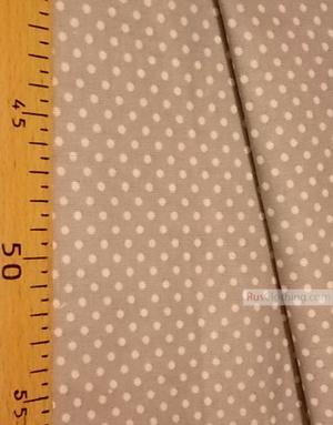 Tissu coton imprime au metre ''Little White Peas On The Coffee''}
