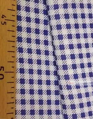 Tissu géométrique au metre ''Blue Checks On White''}