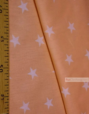 Kids Fabric by the Yard ''White Star On Peach''}