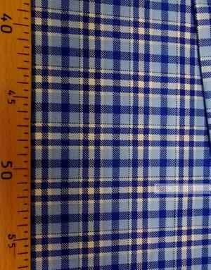 Tissu coton blanc au metre ''Blue-Blue Plaid On White''}