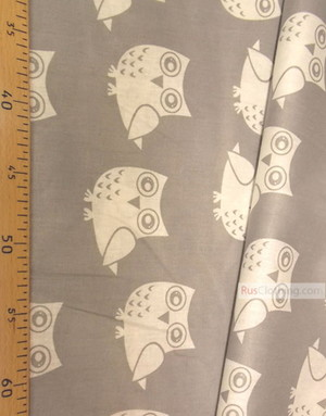 Baby Materials by the Yard ''White Owls On Gray''}
