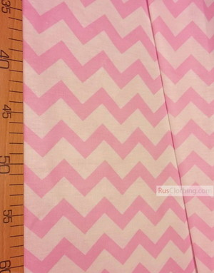 Baby Materials by the Yard ''White-Pink Zigzag''}