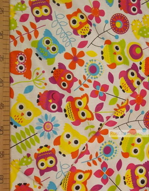Childrens Fabric by the Yard ''Colored Owls On White''}