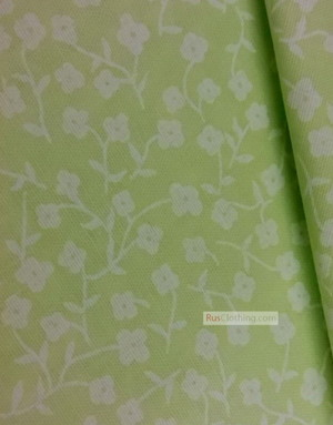 Tissu coton fleuri au metre ''Small White Flowers On Light Green''}