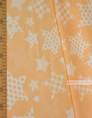 Childrens Fabric by the Yard ''White Stars With Peach Pattern''}