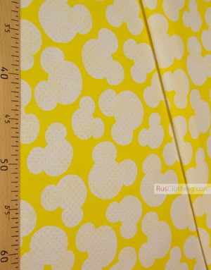 Baby fabric by the Yard ''White Mickey On Yellow''}