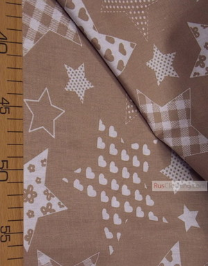 Baby fabric by the Yard ''White Star Pattern On The Coffee''}