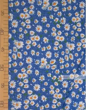 Tissu coton fleuri au metre ''Medium-Sized Daisies On Blue''}
