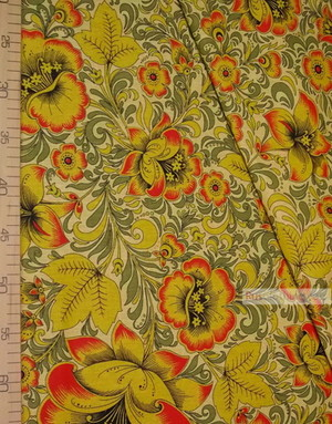Tissu Motif Russe ''Khokhloma On Yellow''}