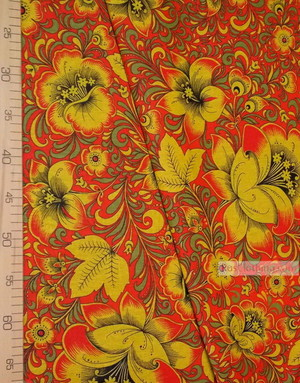 Russian Fabric Patterns ''Khokhloma On Red''}