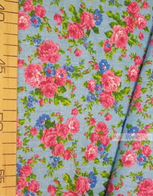 Floral cotton fabric by the yard ''Pink And Blue Roses On Blue''}