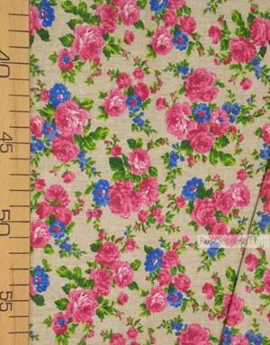 Tissu coton fleuri au metre ''Pink And Blue Roses On Light Gray''}