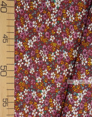 Floral cotton fabric by the yard ''Small Wild Flowers On Burgundy''}