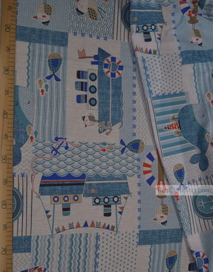 Kids Fabric by the Yard ''Steamer In The Sea''}
