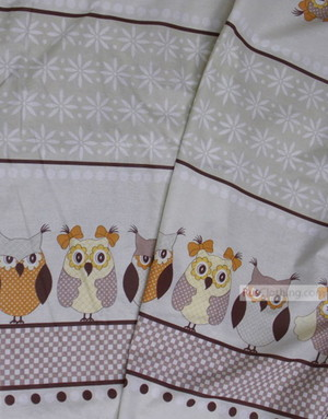 Childrens Fabric by the Yard ''Large Owl On Beige''}