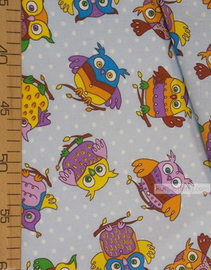 Kids Fabric by the Yard ''Wise Eagle Owl On Blue''}