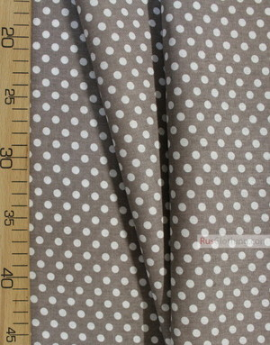 Cotton print fabric by the yard ''White, Small Dots In Dark Coffee''}