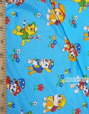 Tissu bébé au metre ''Dog Patrol On Blue''}