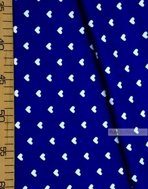 Textile enfant au metre ''White Hearts On Blue''}