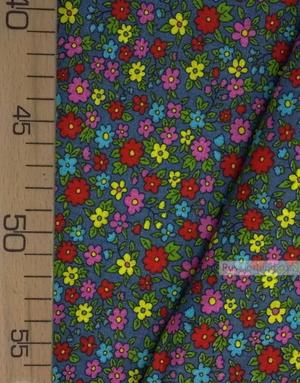 Tissu coton fleuri au metre ''Small Wild Flowers On Gray''}