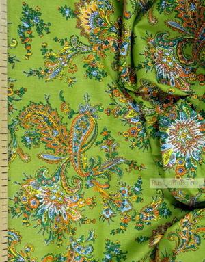 Paisley coton fabric by the yard ''Paisley On Salad''}