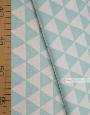 Baby Materials by the Yard ''Light Turquoise, White Triangles''}