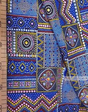 Folk Fabric by the yard ''Byzantine Mosaic On Blue''}