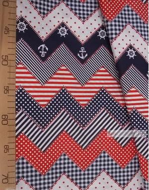 Tissu vintage folklorique au metre ''Sea Zigzag, Red''}